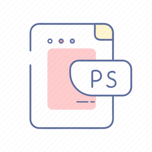 document, extension, file, photoshop, ps icon