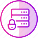data, database, device, lock, protection, server icon