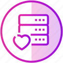 data, database, device, love, server icon