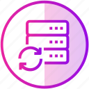 data, database, device, server, sync icon