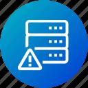 alert, data, database, device, server icon