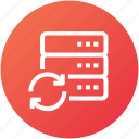 data, database, device, server, sync icon