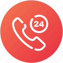 call, device, hours, phone, support icon