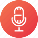 audio, broadcast, device, mic, microphone, record icon