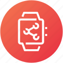 connection, device, handwatch, sharing, watch icon