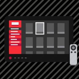 display, movie, remote, screen, television, tv, video icon