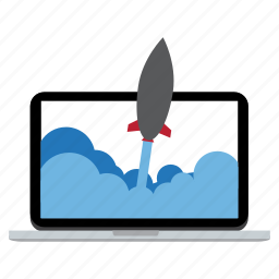 computer, connected, device, internet, rocket, startup icon