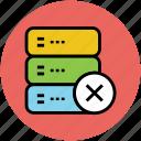 database, delete database, remove database, server connection, subtract icon