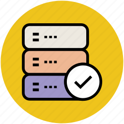 check mark, database, database accepted, server connection, server verified icon
