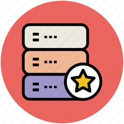 database, server, star, web hosting, web server icon
