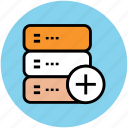 add, add data storage, add to database, adding, database, file storage icon