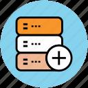 add, add data storage, add to database, adding, database, file storage icon
