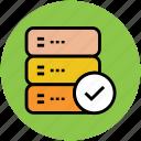 check data, check database, check mark, database, hosting icon
