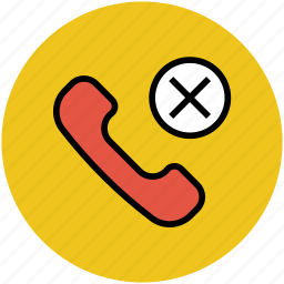 calling, calling cancel, cross, missed call, telephone icon