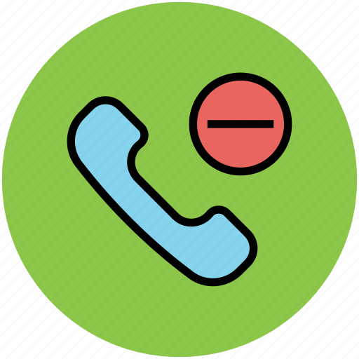call, calling, minus, minus symbol, telephone receiver icon