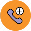 add to call, adding, calling, phone receiver, plus symbol icon