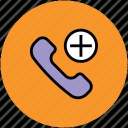 add to call, adding, calling, phone receiver, plus symbol icon