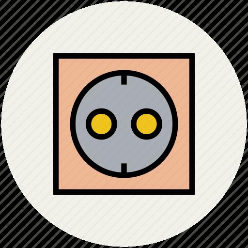 double socket, electric socket, plug socket, socket icon