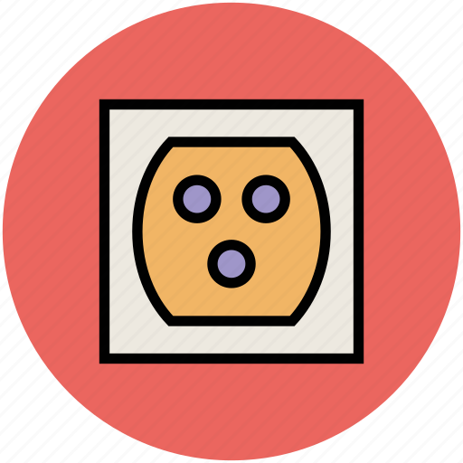 electric socket, plug socket, socket, triple holes socket, wall socket icon