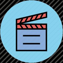 clapboard, clapperboard, film board, movie board icon