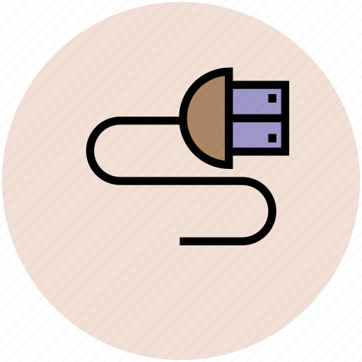 connection, data cable, data wire, usb cable, usb plug cable, usb wire icon