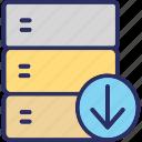 data downloading, database, database downloading, downloading, server downloading icon