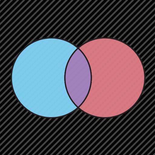 diagram, intersection, office, venn icon