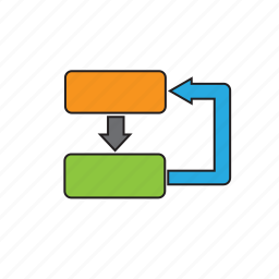 diagram, loop, office, program, workflow icon
