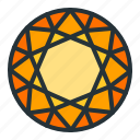 diamond, gem, jewel, jewellery, round, shape icon
