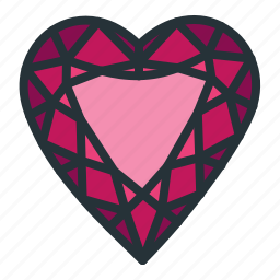 diamond, gem, heart, jewel, jewellery, shape icon