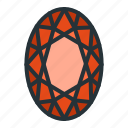 diamond, gem, jewel, jewellery, oval, shape icon
