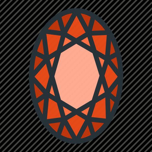 diamond, gem, jewel, jewellery, oval, shape icon