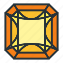 diamond, gem, jewel, jewellery, radiant, shape icon