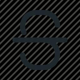 letter, line, strike, through icon
