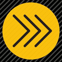 arrow, arrows, right, triple arrows icon