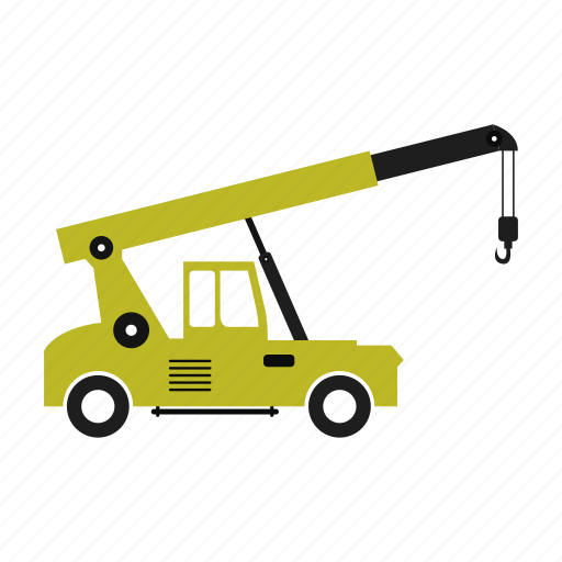 crane, illustration, isolated, lifting, lorry, truck icon