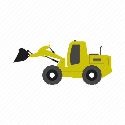 construction, excavator, illustration, logo, machinery icon