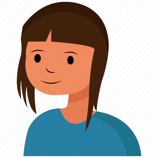 face, girl, hair, happy icon