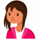 avatar, face, girl, sad, user, woman icon