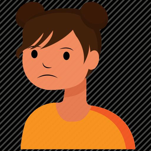 avatar, face, girl, sad, user, woman icon