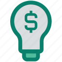 bulb, creativity, digital marketing, dollar sign, electric bulb, idea icon