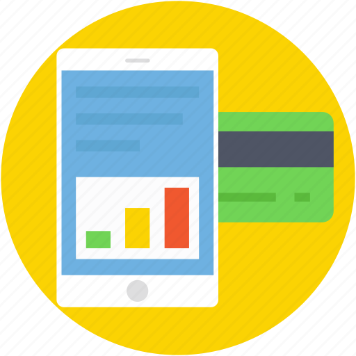 banking, credit card, mobile, mobile banking, mobile graph icon