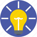 bulb, bulb on, idea, light bulb, luminaire icon