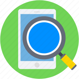 cell phone, ipad, magnifier, mobile, mobile search icon