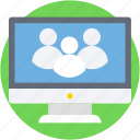 monitor, online chatting, online collaboration, social media, social network icon