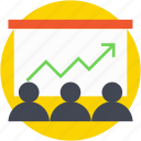 business presentation, line graph, meeting, presentation, training icon