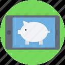 banking, mobile, penny bank, piggy bank, smartphone