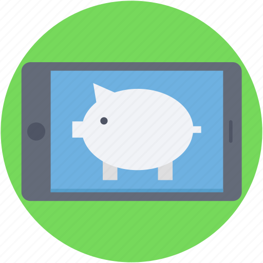 banking, mobile, penny bank, piggy bank, smartphone icon