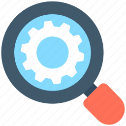 cog, cogwheel, magnifier, search settings, searching icon
