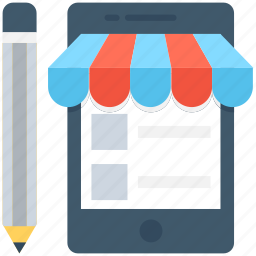 m commerce, mobile, online shop, pencil, writing icon
